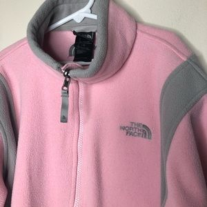 pink/grey fleece zip North Face jacket girls L